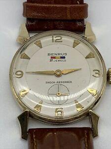 Vintage BENRUS 14 K GOLD Men's Watch 21 JEWELS