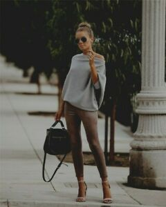 Zara Braun Kaki Cuir Sauvage Simili Pantalons Leggings Marron Daim