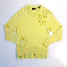 BEN SHERMAN sz 2/M mens Lime Green Raw Hem Style 100% Cotton Branded Knit Jumper