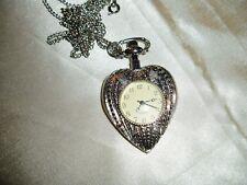 Vtg Quarts Pretty Silver Tone Metal HEART Shape Pendant Necklace WATCH SALE**