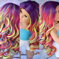 """10-11"""" Custom Doll Wig for 18"""" American Girl doll Heat Safe Gotz rainbow Wig"""