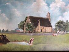 More details for antique oil painting landscape pastoral scene wood frame signed 1902