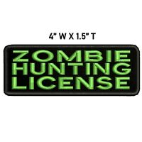 ZOMBIE HUNTING LICENSE Embroidered Patch Iron-On / Sew-On Badge Emblem Funny