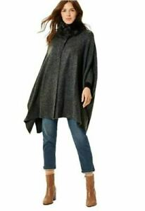 Poncho Knitted Jumper Cape Ladies Womens Fur M&S Black Charcoal Winter Knit NEW