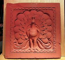 "Antique PEACOCK WALL SAND STONE   CARVING/ SCULPTURE  12"" X 12""x1"""