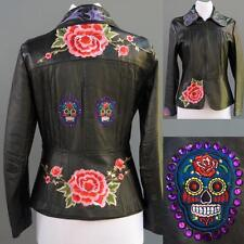 VTG Black Leather Jacket Mexican Day Of The Dead Applique Hand Painted S M