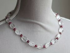 CLEAR QUARTZ & PINK COLOUR COATED CHALCEDONY NECKLACE & BRACELET SET 19.5""