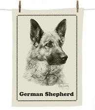 Mike Sibley German Shepherd/Alsatian dog breed cotton tea towel - dog lover gift