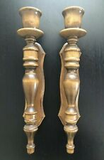 Vintage PAIR Carved Turned TALL Wooden Candle Sconces Candleholders Holder Art