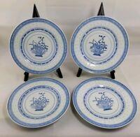 4 Vtg Jingdezhen Blue White Rice Grain Eyes Salad Plates Chrysanthemum Flower