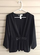 Simply Chloe Dao women's M black knit cardigan flared sleeves jewel embellished
