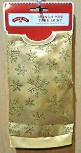 "Holiday Time 18"" Gold Satin Glitter Snowflake Mini Christmas Tree Skirt"