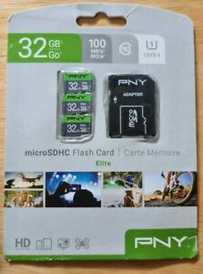 NEW 3 x PNY 32GB Elite Micro SDHC Flash Card with Adapter Drone 2 SDHC Cards NEW