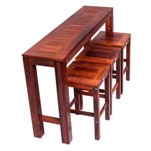 NEW Hayman 4 Piece Bar set in Solid Merbau Outdoor 5 - 7 Seater