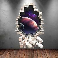 3D A PIENI COLORI profonda SPAZIO PIANETI ADESIVO ARTISTICO da parete da parete
