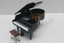 GRAND PIANO BLACK WOODEN MUSIC INSTRUMENT DOLL HOUSE MINIATURE FOR DISPLAY ONLY