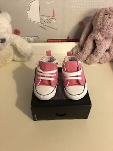 CONVERSE Baby Girls Pink Pre Walker Trainers Size 19 (uk 3)