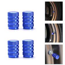 4 × Wheel Tyre Tire Valve Stems Air Dust Screw Caps Blue Metal Car Truck Bike