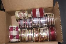 """WIRED DECORATIVE RIBBON 1.5"""" 90 feet + GOLD MAROON WINE tones Assorted"""