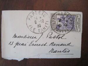 Etablissements de l'Océanie 1930 Papeete Tahiti France enveloppe cover