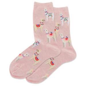 Alpacas Hot Sox Women's Crew Socks Pink Heather New Novelty Cute Furry Fashion