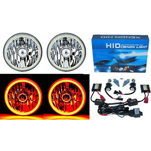 "5-3/4"" Amber LED COB SMD Halo Angel Eye 6000K 6K HID Light Bulbs Headlights Pair"