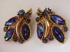 Vintage Rhinestone Australia Design 50s Elisabeth Reimer Gold Clip Earrings