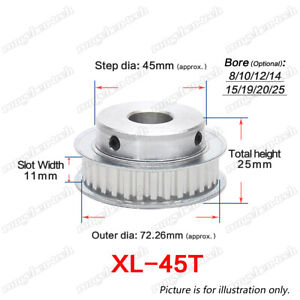 XL45T Timing Belt Pulley Gear Wheel 8-25mm Bore 1/5″ Pitch For 10mm Width Belt
