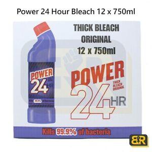 Power 24 Hour Original Thick Bleach Stop Germs Kills Bacteria 12 x 750ml Bleach