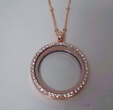 CZ Rose Locket w/ Necklace Chain for Floating Charm Glass Memory Locket