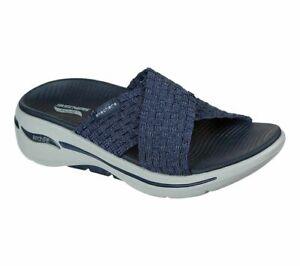 SKECHERS GO WALK ARCH FIT WONDROUS LADIES NAVY SLIP ON SANDALS UK 5 - 140235/NVY