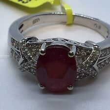 Ruby & Zircon Ring (Sz10) TGW 4.00cts Platinum/.925 Sterling Silver Band