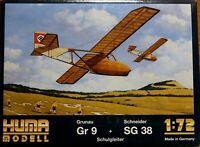 Huma 1/72 Grunau GR.9 & Schneider SG.38 gliders unmade complete kit