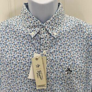 NEW wTag-Men's Original PENGUIN White w/Blue Floral Button Shirt L