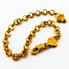 BRACELET BANGLE REAL 18K YELLOW G/F GOLD SOLID CHARM ANTIQUE BELCHER LINK DESIGN