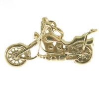GOLD CHOPPER MOTOR BIKE CHARM.  HALLMARKED 9 CARAT GOLD CHOPPER MOTOR BIKE CHARM