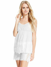 NEW M&S Cream Pure Cotton Cutwork Embroidered Camisole Top & Shorts UK 10 EUR 38