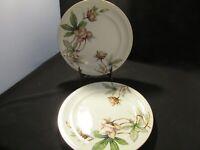 "Vintage Meito Ivory China Japan WOODROSE Pattern 10"" Dinner Plates Set of 2"