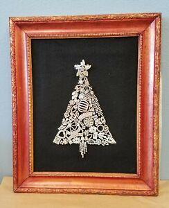 Handcrafted Framed Jeweled Rhinestone Christmas Tree