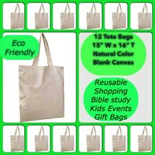 12 Cotton Blank Canvas Bags Reusable Crafts Tote Shopping Gift OVERSTOCK SALE