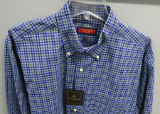 AUSTIN REED Dress Shirt Men's L Blue Black White Yellow Plaid 100% Cotton NWT