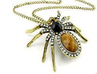 Vintage goth punk biker huge gem spider charm necklace