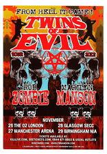 Marilyn MANSON Rob ZOMBIE 2013 original UK 15 x 20 cm flyer TWINS of EVIL