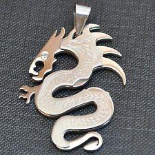 1 Antiksilber Anhänger für Halskette Blau Drachen Dragon Rund Mode 4.2*4.2cm