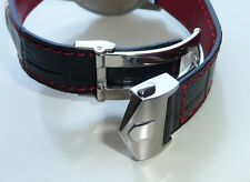 20mm Carrera Genuine Leather Band Strap RED STITCHING with Clasp for TAG HEUER