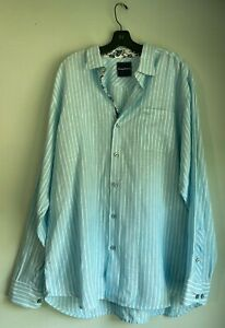 Tommy Bahama Blue White Linen striped Logo Shirt XL