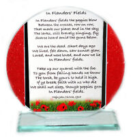 In Flanders Field  War remembrance Poem Glass Round Plaque, Special Edition  #1