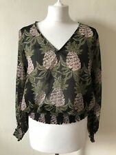 H&M Tropical Pineapple Print Sheer V-neck Top Size 10 Spring Summer Shirred