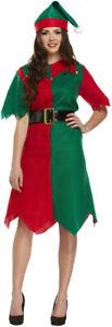 LADIES ELF COSTUME GIRLS CHRISTMAS WOMEN FANCY DRESS XMAS SANTA HELPER OUTFIT UK