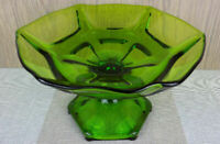"""Viking Glass Epic Green footed compote bowl 9.25"""" paneled mid century modern"""